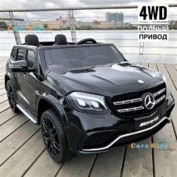 Электромобиль Mercedes-Benz GLS 63 AMG 4WD черный (2х местный, кондиционер, колеса резина, сиденье кожа, пульт, музыка)